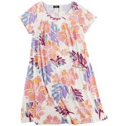 Plus Hibiscus A-Line Dress