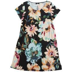 Plus Floral Printed T-Shirt Dress