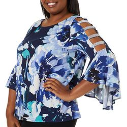 MSK Plus Floral Print Gem Embellished Ladder Sleeve Top