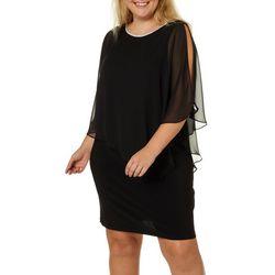 MSK Plus Glitzy Slit Sleeve Poncho Dress