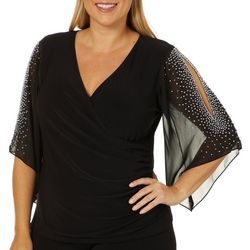 MSK Plus Bling Sleeve Wrap Top