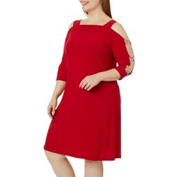 MSK Plus Embellished Cold Shoulder Shift Dress