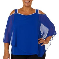 MSK Plus Glitzy Cape Square Neck Poncho Top