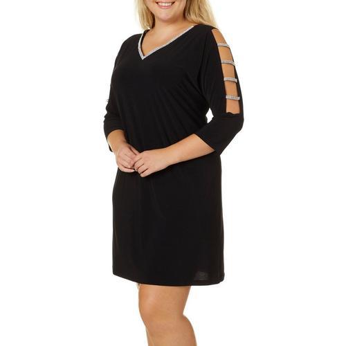 MSK Plus Solid Glitzy Caged Sleeve V-Neck Dress