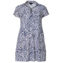 MSK Plus Paisley Print Zip Neck Swing Dress