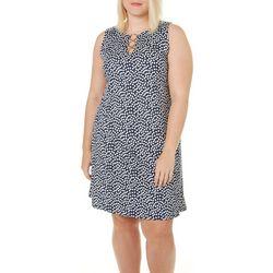 MSK Plus Polka Dot Ring Neck Dress