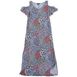 MSK  Plus Floral Print Cold Shoulder Flutter Sleeve Dress