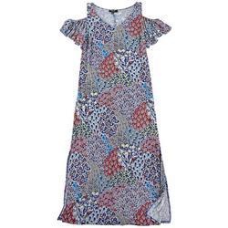 Plus Floral Print Cold Shoulder Flutter Sleeve Dress
