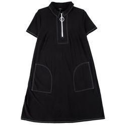 MSK Plus Solid Zip-up Neck Dress