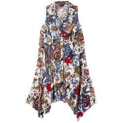 Plus Floral Button Down Dress
