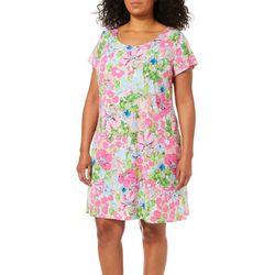 MSK Plus Blooming Floral  T-Shirt Dress