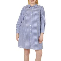 MSK Plus Pin Striped Ring Back Shirtdress