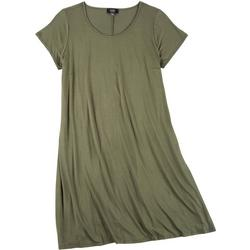 Womens Plus Solid Short Sleeve Swing Dress