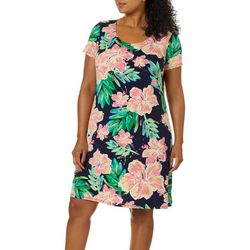 MSK Plus Short Sleeve Floral Puff Print Dress