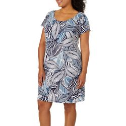 MSK Plus Leaf Puff Print T-Shirt Dress