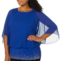 MSK Womens Plus Embellished Band Top