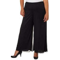 MSK Plus Solid Mesh Wide Leg Pants
