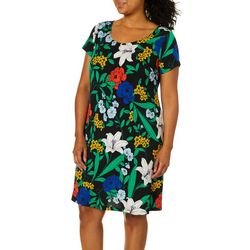 MSK Plus Floral Print Short Sleeve Swing Dress