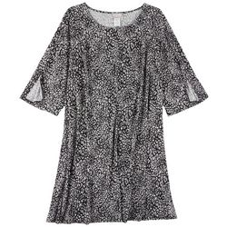 Ivy Road Plus Animal Print Long Sleeve Dress