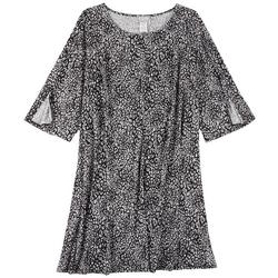 Plus Animal Print Long Sleeve Dress