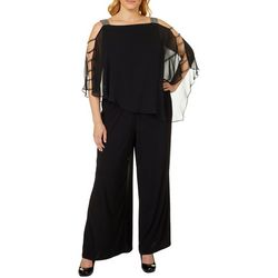 MSK Plus Glitzy Caged Poncho Jumpsuit