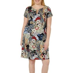 MSK Plus Mixed Floral Ring Neck Dress