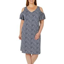 MSK Plus Dot Print Cold Shoulder Dress