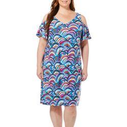 MSK Plus Abstract Hills Cold Shoulder Dress
