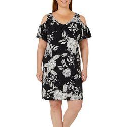 MSK Plus Floral Print Cold Shoulder Dress