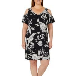 MSK Plus Floral Print Cold Shoulder Dress