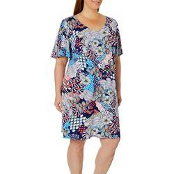 MSK Plus Boho Floral T-Shirt Dress