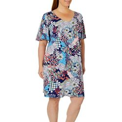 MSK Plus Boho Floral T-Shirt Dress