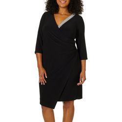 MSK Plus Embellished Wrap Front Dress