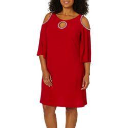 MSK Plus Glitzy Cold Shoulder Shift Dress