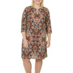 MSK Plus Floral Medallion Ring Neck Dress