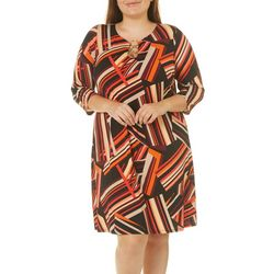 MSK Plus Abstract Stripes Ring Neck Dress