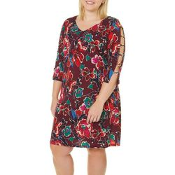 MSK Plus Floral Print Caged Sleeve Dress