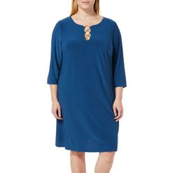 MSK Plus Solid Ring Neck Dress