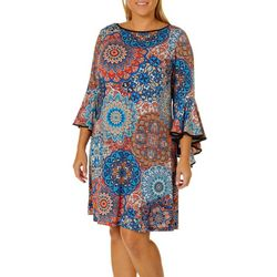 MSK Plus Medallion Print Bell Sleeve Dress