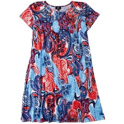 MSK Plus Americana Paisley T-Shirt Dress