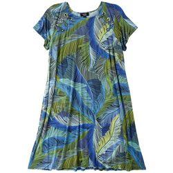 MSK Plus Feather Pattern T-Shirt Dress