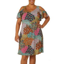 MSK Plus Paisley Print Cold Shoulder Dress