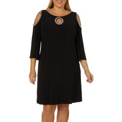MSK Plus Glitzy Cold Shoulder Shift Dress