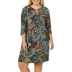 MSK Plus Paisley Puff Print Ring Neck Dress
