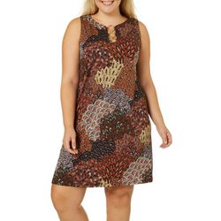 MSK Plus Floral Sunburst Print Ring Neck Sleeveless Dress