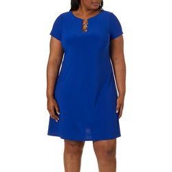 MSK Plus Solid Ring Neck T-Shirt Dress