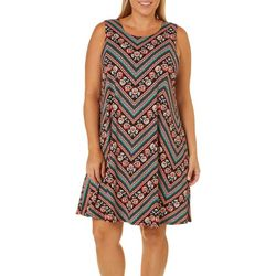 Allison Brittney Plus Floral Chevron Sundress