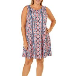 Allison Brittney Plus Geometric Panel Sundress