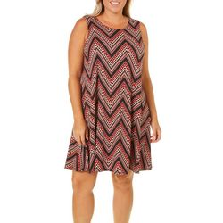 Allison Brittney Plus Geometric Chevron Sundress