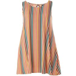 Plus Sleeveless Striped Yummy Swing Dress